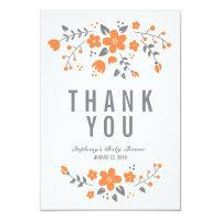 Orange White Pretty Floral Flat Thank You Card Personalized Invite