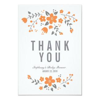"Orange White Pretty Floral Flat Thank You Card 3.5"" X 5"" Invitation Card"