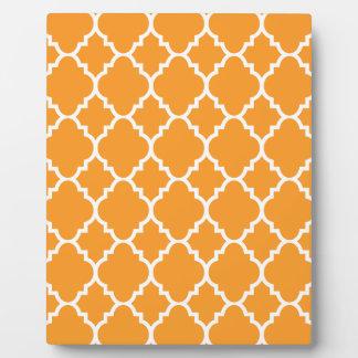 Orange White Quatrefoil Moroccan Pattern Plaque