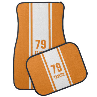 Orange & White Racer Monogram Stripe Car Mats