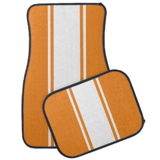 Orange & White Racer Stripe Car Mats