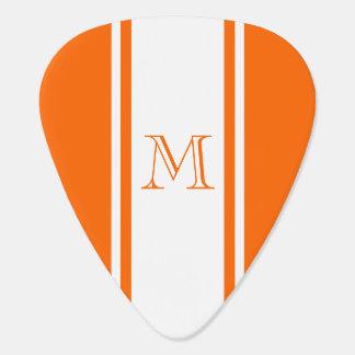 Orange & White Racer Stripe Monogram Guitar Pick
