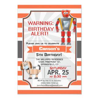 """Orange & White Robot, Dog, Boy Birthday Party 5"""" X 7"""" Invitation Card"""