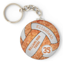 orange white school colors custom name volleyball keychain