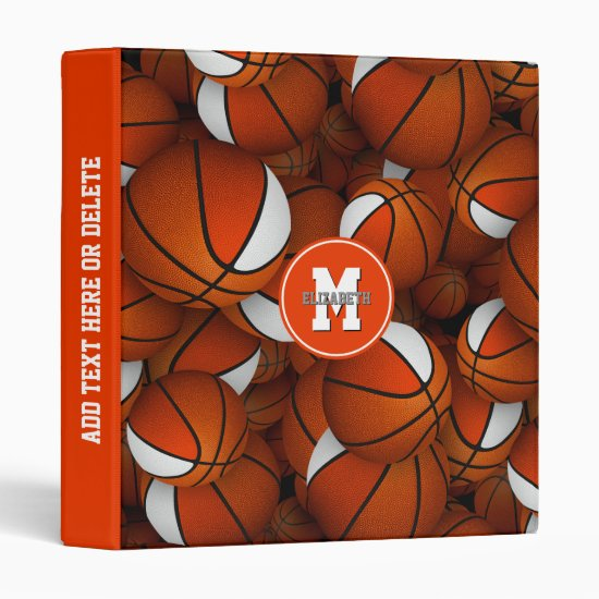 orange white school team colors basketball pattern 3 ring binder