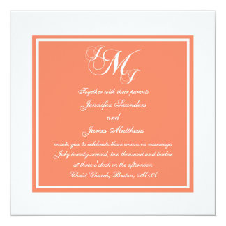 Orange White Script Monogrammed Wedding Invitation