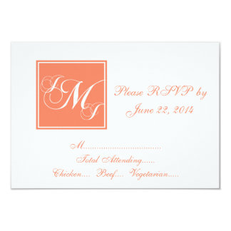 Orange White Script Monogrammed Wedding RSVP Card