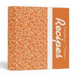 Orange & White Scrollwork Personalized Recipe Binder