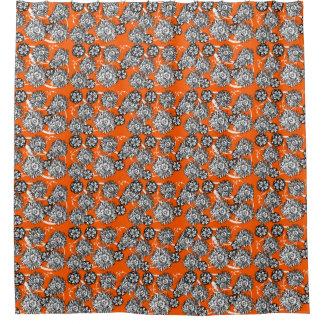 Orange White Sketched Floral Pattern Shower Curtain