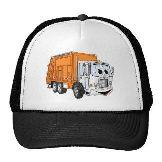 Orange White Smiling Garbage Truck Cartoon Trucker Hat