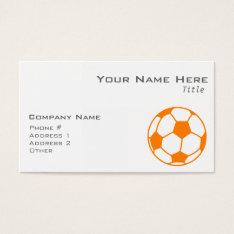 Orange & White Soccer Business Card at Zazzle