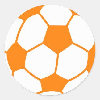 Orange & White Soccer Classic Round Sticker