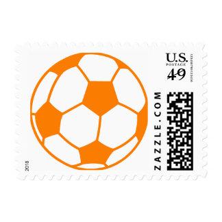 Orange & White Soccer Postage