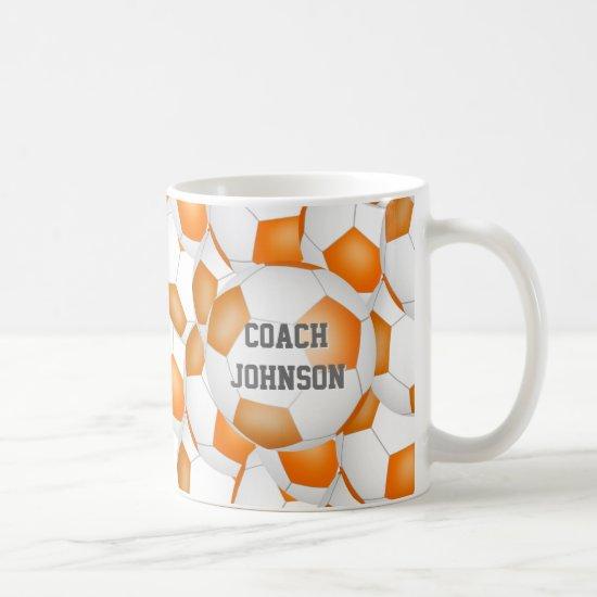 orange white soccer school team coach gift coffee mug