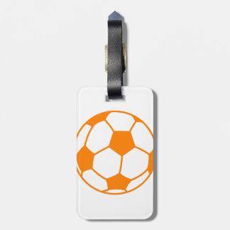 Orange & White Soccer Tag For Luggage