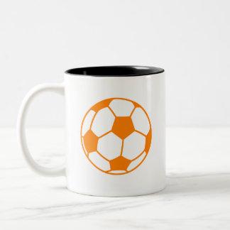 Orange & White Soccer Two-Tone Coffee Mug