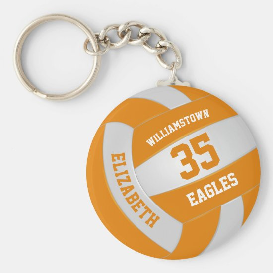 orange white sports team colors volleyball keychain