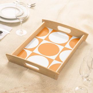 Orange&White Square&Circle Decorative Design Serving Tray