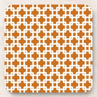 Orange & White Square Pattern Coaster
