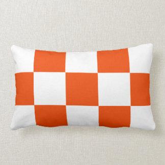 Orange White Squares Checkered Pillow