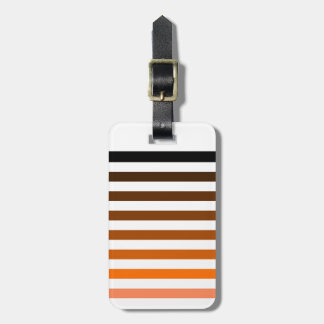 Orange white stripes luggage tag