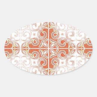 Orange White Swirl Inspired by Portuguese Azulejos Oval Sticker
