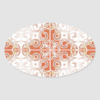 Orange White Swirl Inspired by Portuguese Azulejos Oval Stickers
