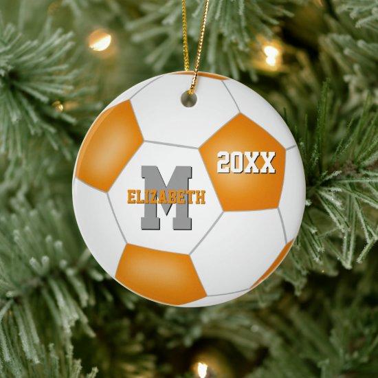 orange white team colors girl boy keepsake soccer ceramic ornament