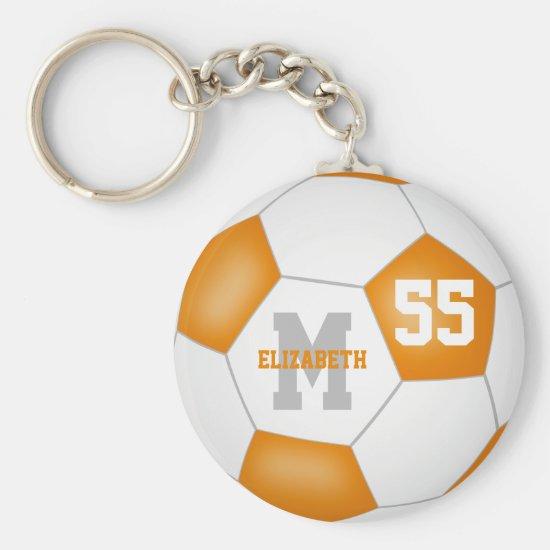 orange white team colors girls boys sports soccer keychain