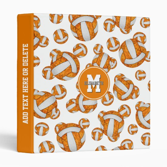 orange white team colors girly volleyball pattern 3 ring binder