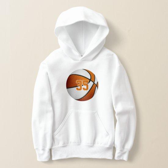 orange white team colors jersey number basketball hoodie