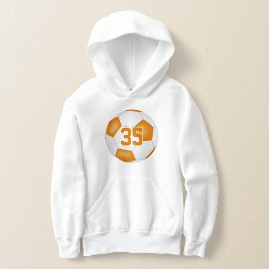 orange white team colors jersey number soccer hoodie
