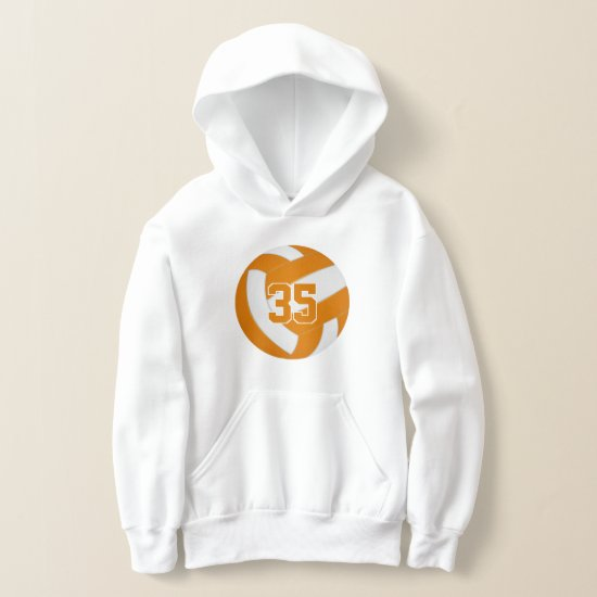orange white team colors jersey number volleyball hoodie