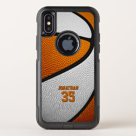 orange white team colors personalized basketball OtterBox commuter iPhone x case