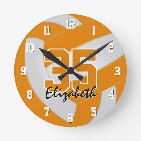 orange white team colors players name volleyball round clock