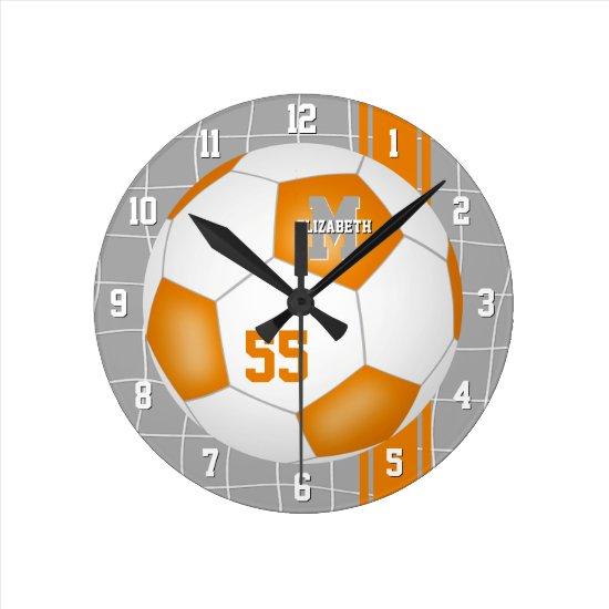 orange white team colors varsity stripes soccer round clock