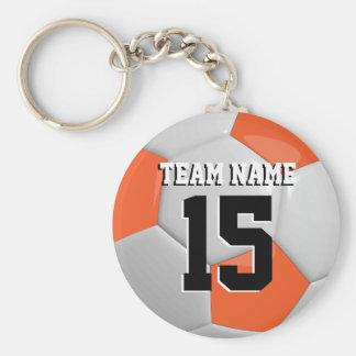 Orange & White Team Soccer Ball Basic Round Button Keychain