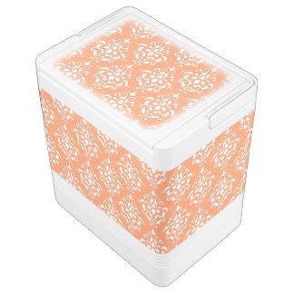 Orange White Vintage Damask Pattern 1 Drink Cooler