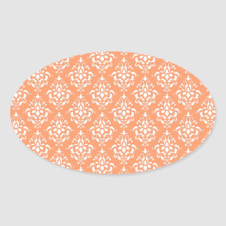 Orange White Vintage Damask Pattern 1 Oval Sticker