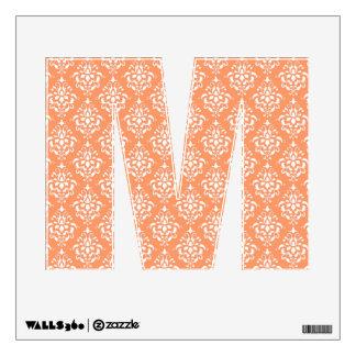 Orange White Vintage Damask Pattern 1 Wall Skins