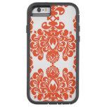 Orange White Vintage Damask Pattern iPhone 6 Case