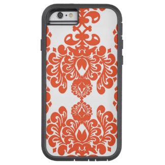 Orange White Vintage Damask Pattern Tough Xtreme iPhone 6 Case