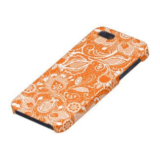 Orange & White Vintage Floral Lace Case For iPhone SE/5/5s