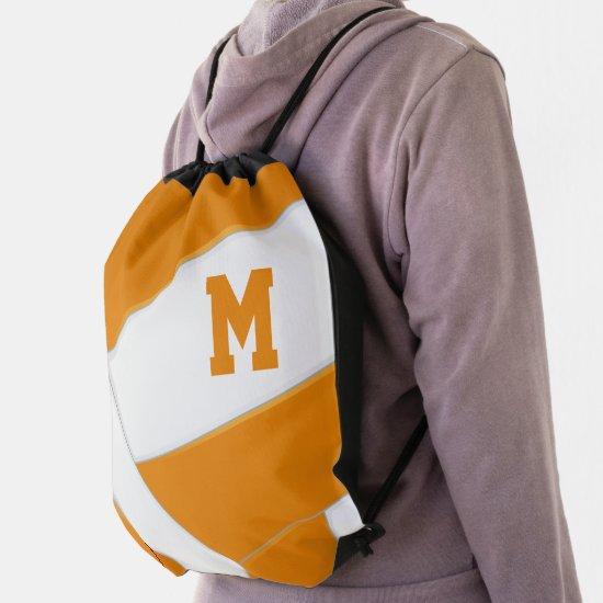 orange white volleyball boys girls sports drawstring bag