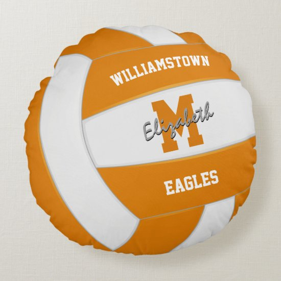 orange white volleyball sports team colors round pillow