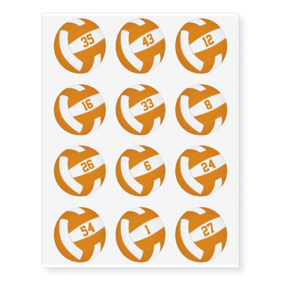 orange white volleyballs w jersey numbers set 12 temporary tattoos
