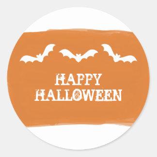 Orange White Watercolor Bats Halloween Stickers