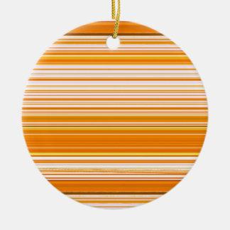 Orange White Yellow Pink Stripe Pattern Ceramic Ornament