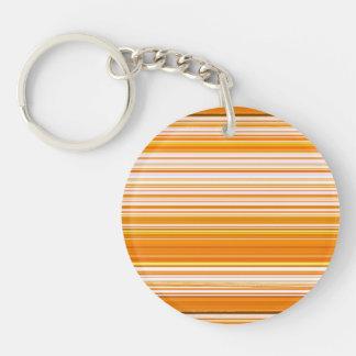 Orange White Yellow Pink Stripe Pattern Double-Sided Round Acrylic Keychain