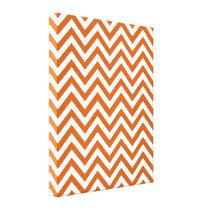 Orange & White Zigzag Pattern Canvas Print
